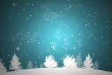 Falling Snow with White Christmas Trees