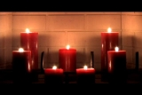 Candles lit Fireplace