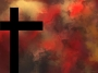 Cross on Abstract Red Background