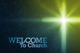 Welcome To Our Church Cross Glow Blue Yellow