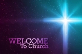 Welcome To Our Church Cross Glow Purple Blue