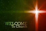 Welcome To Our Church Cross Glow Green Red
