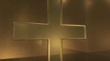 3D Glass Cross- Orange