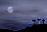 3 on a Hill Crosses with Moon (shine on cross)