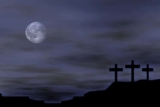 3 on a Hill Crosses with Moon