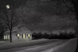 COUNTRY CHURCH AT NIGHT WITH SNOW LOOP