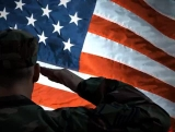 Soldier Salutes US Flag Looping Background